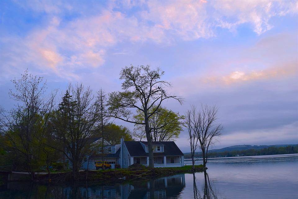 Lake, Reflection, Tree, House, Sky, Clouds, Nature