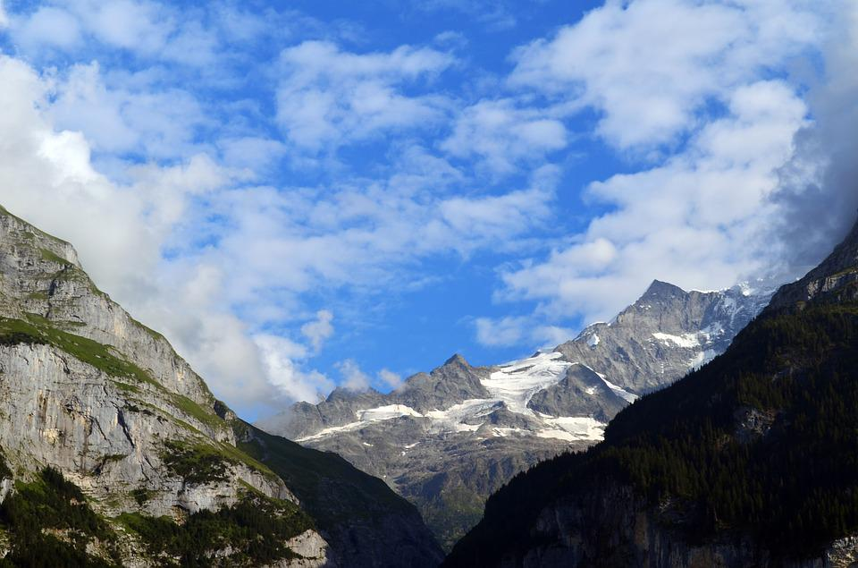 Alpine, Switzerland, Panorama, Clouds, Rock, Snow
