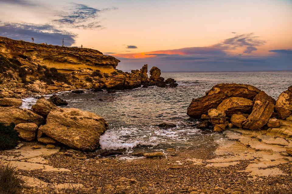 Beach, Cove, Sea, Coast, Rocky, Rocks, Clouds, Sky