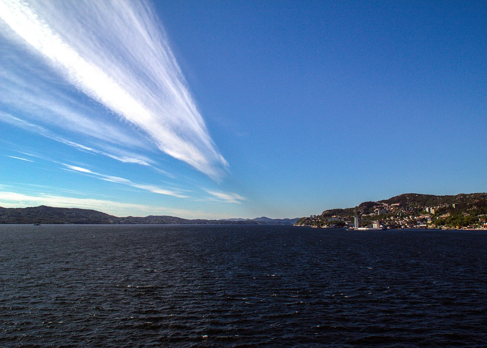 Norway, Bergen, Sea, Sky, Fjord, Clouds