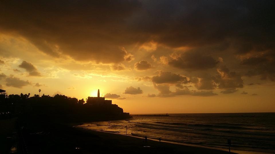 Sunset, Jaffa, Israel, Mediterranean, Sea, Clouds