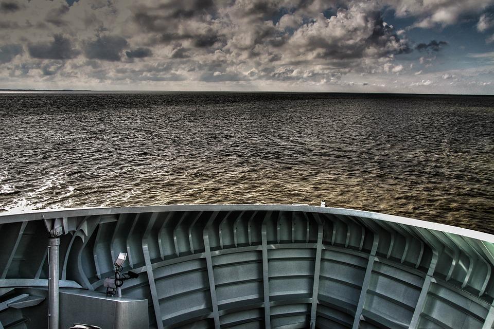 Sea, Ship, Clouds, Evening Sun, Atmospheric, Water
