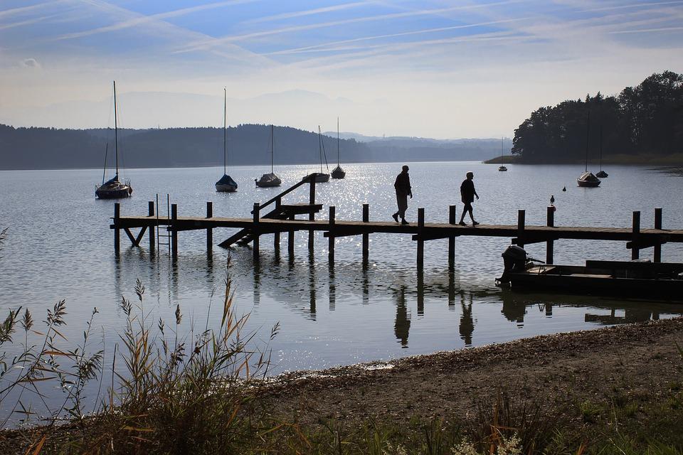 Lake, Web, Boats, Clouds, Mirroring, Panorama, Simssee