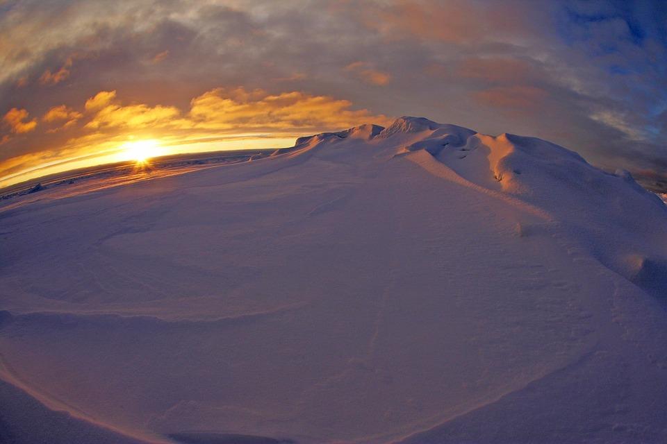 Arctic Ocean, Sea, Water, Sunset, Sky, Clouds, Colorful