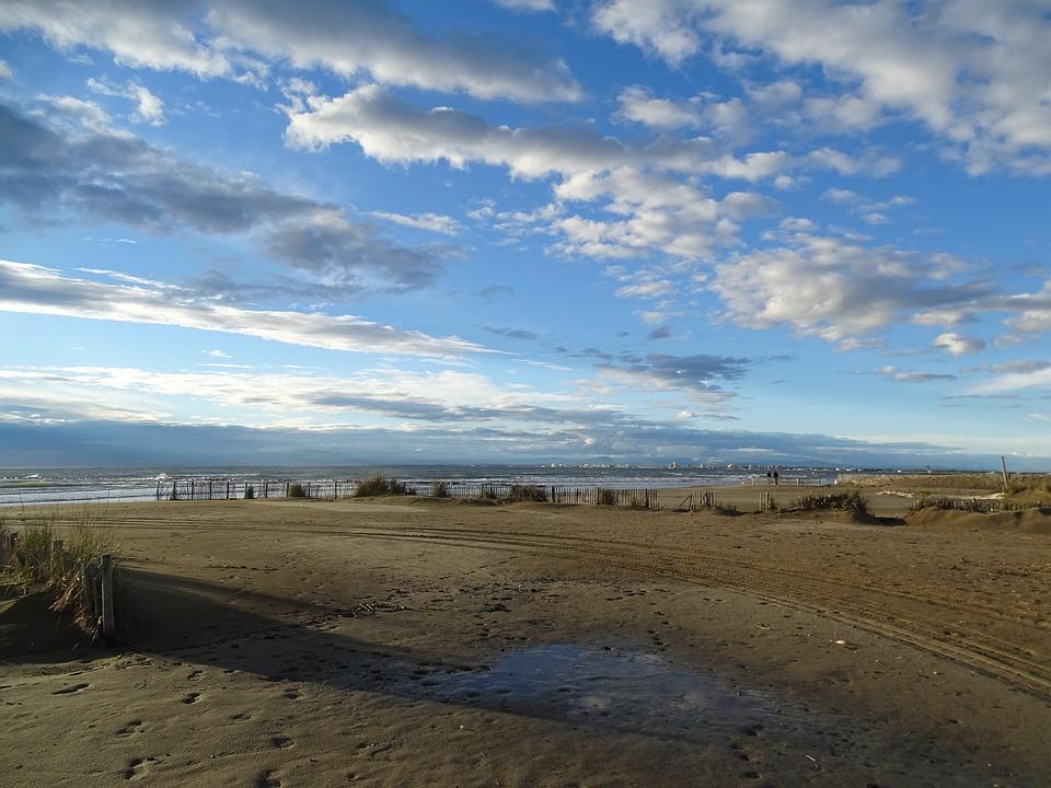 Beach, Sea, Sand, Sky, Clouds, Mediterranean
