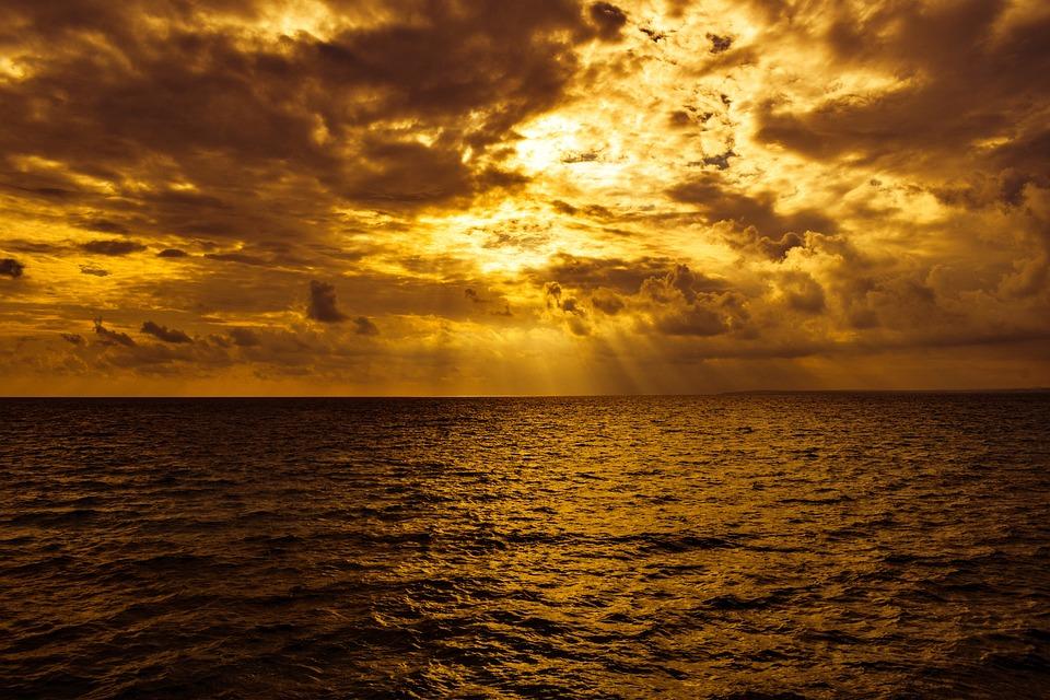 Sunset, Golden, Sea, Nature, Dusk, Sky, Clouds, Horizon