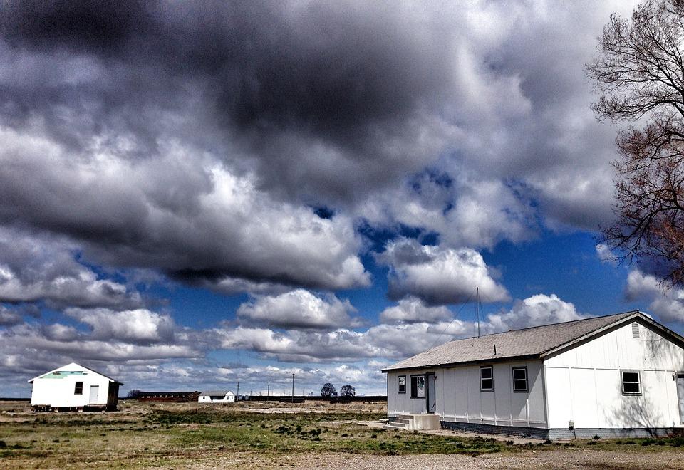 Clouds, Sky, Buildings, Minidoka, Internment Camp