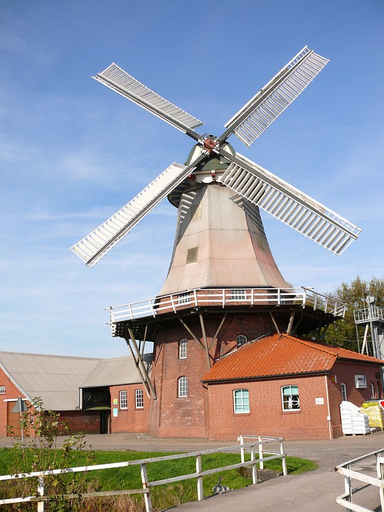 Windmill, Mill, Flour Mill, Sky, Landscape, Clouds