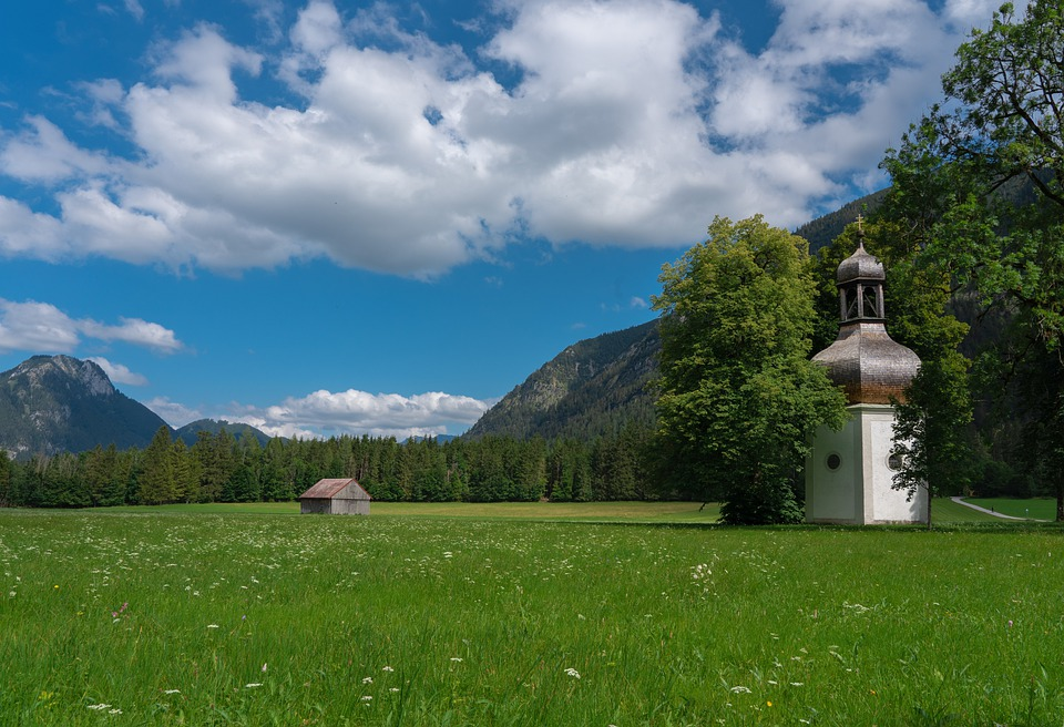 Landscape, Mountains, Meadow, Chapel, Clouds, Sky