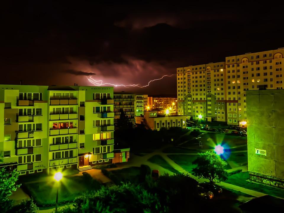Landscape, City, Storm, Lightning, Night, Sky, Clouds