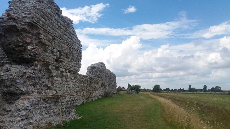 Ruins, Sky, Clouds, Summer, Field, Wheat, England