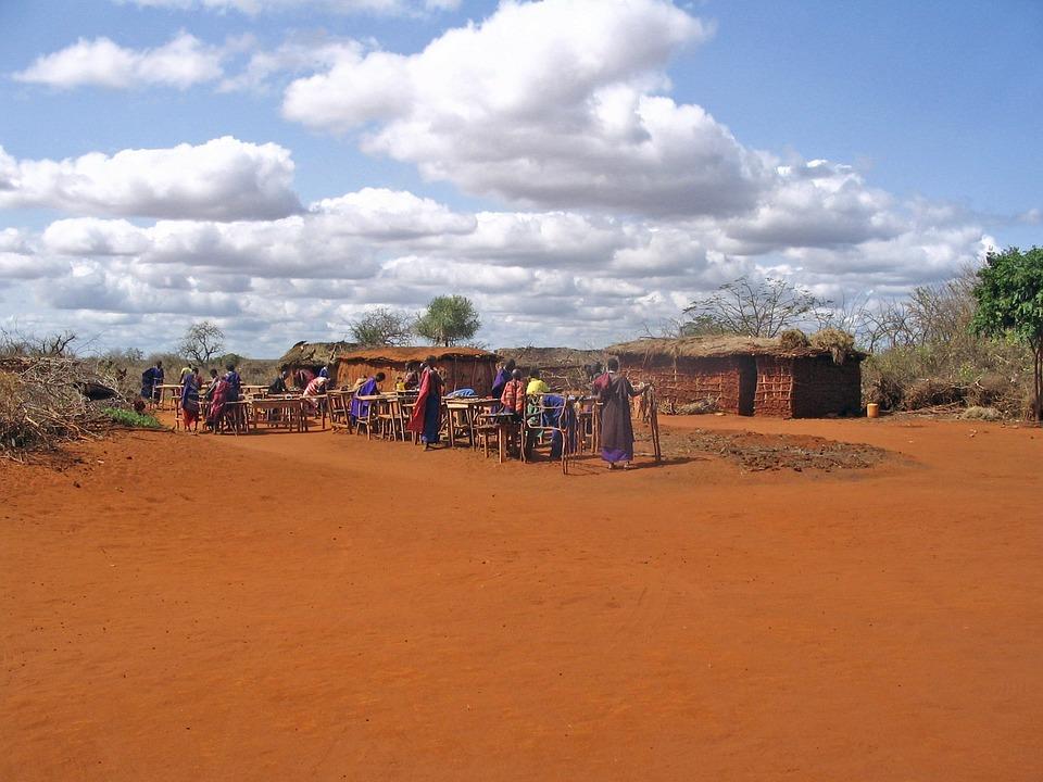 Maasai Village, Kenya, Villagers, Sky, Clouds, Rural