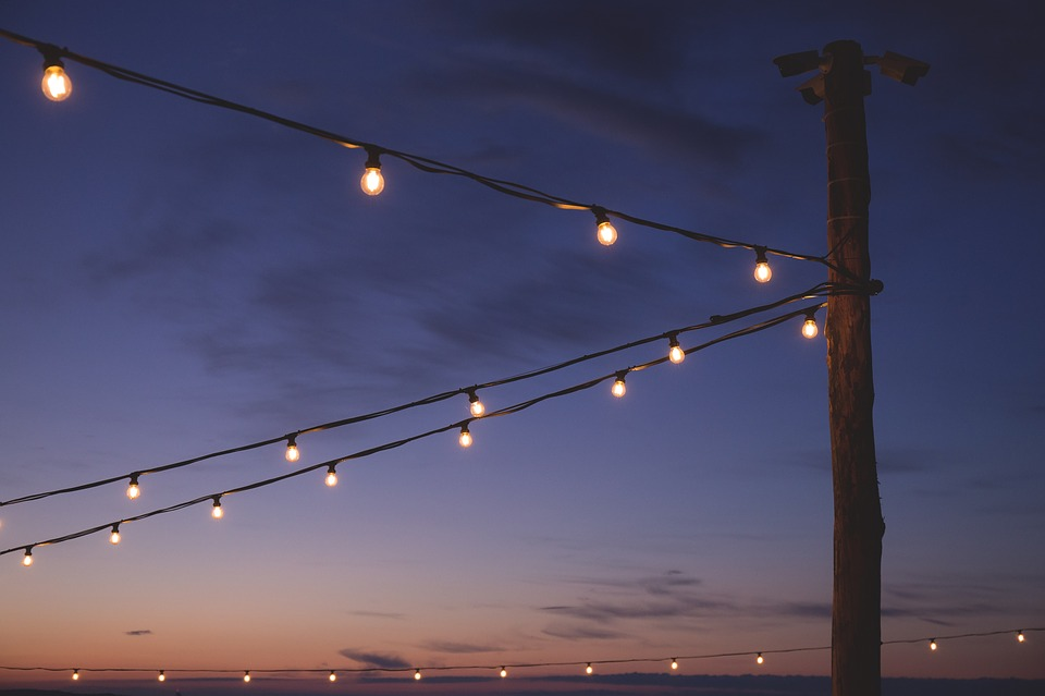Still, Lights, Lanterns, Posts, Sky, Clouds, Gradient