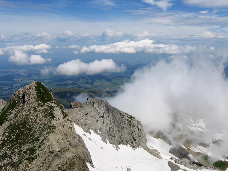 Summit, Mountain, Clouds, Sky, Switzerland, View