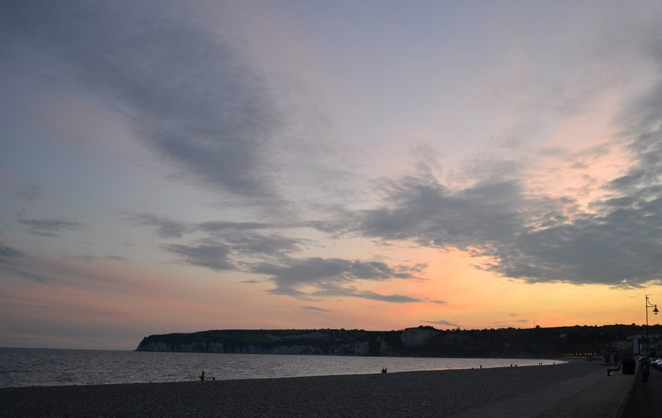 Seaton, Devon, Sunset, Clouds, Landscape, Beech, Sky