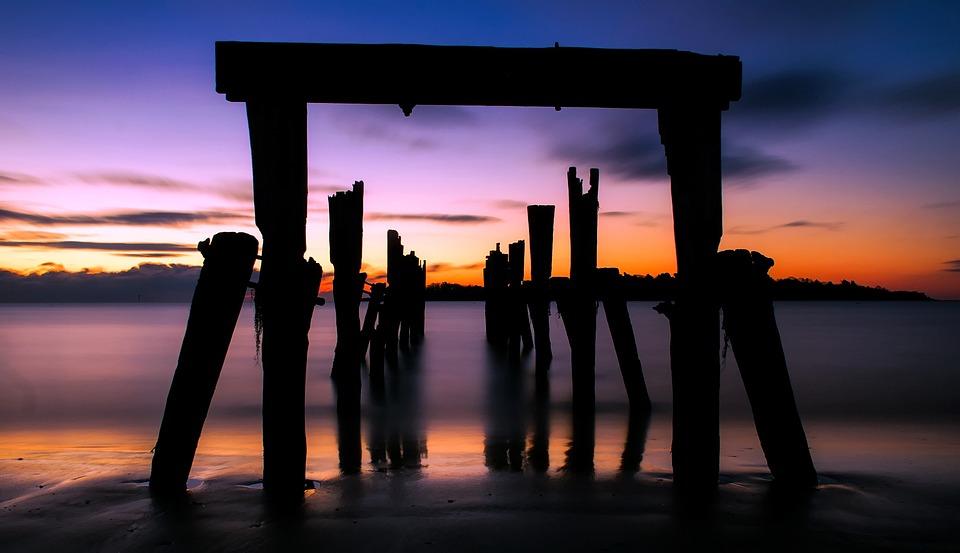 Lake, Water, Sky, Clouds, Sunset, Dusk, Beautiful, Pier