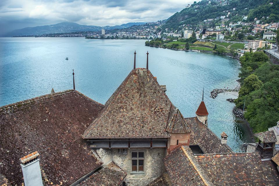 Castle, Fortress, Lake, Sky, Clouds, City, Switzerland