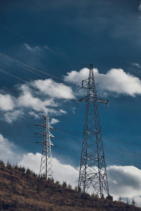 Transmission Tower, Mountain, Clouds, Sky, Cables