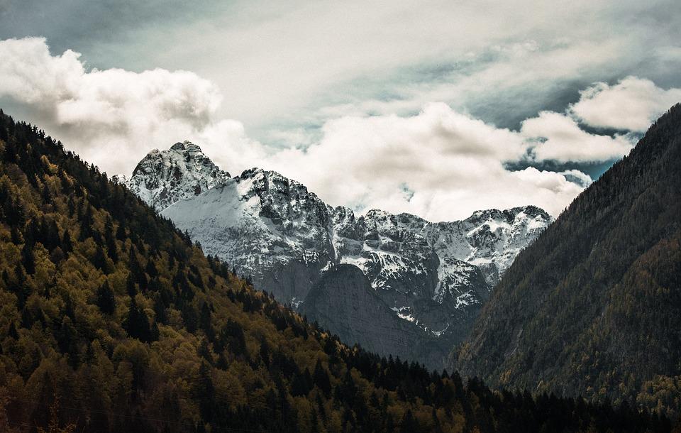 Mountain, Clouds, Summer