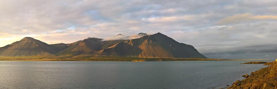 Sunrise, Sea, Bay, Borgarnes, Morning, Summer, Clouds