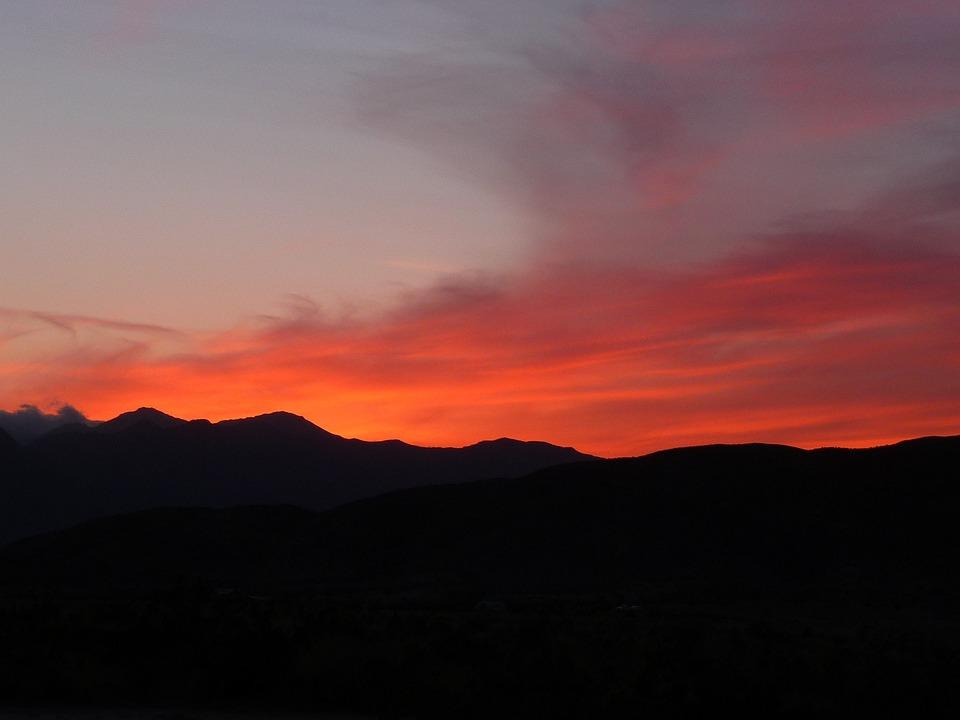 Arizona, Sunset, Red Sky, Clouds, Scenic, Landscape