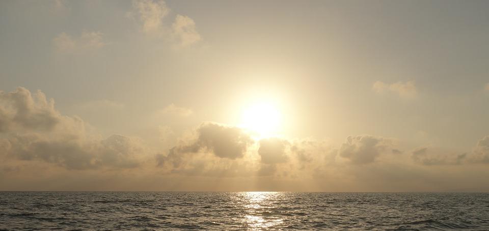 Sun, Sea, Clouds, Rays, Sunset, Back Light, Evening Sky