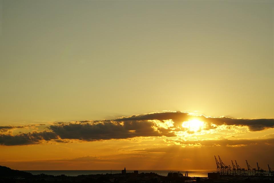 Sunset, Clouds, Sea