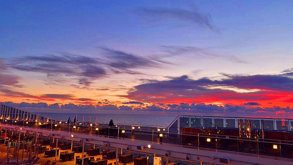 Clouds, Sea, Ship, Sunset