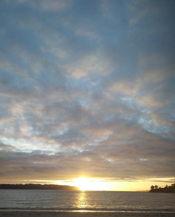 Sea, Sky, Clouds, Sunset