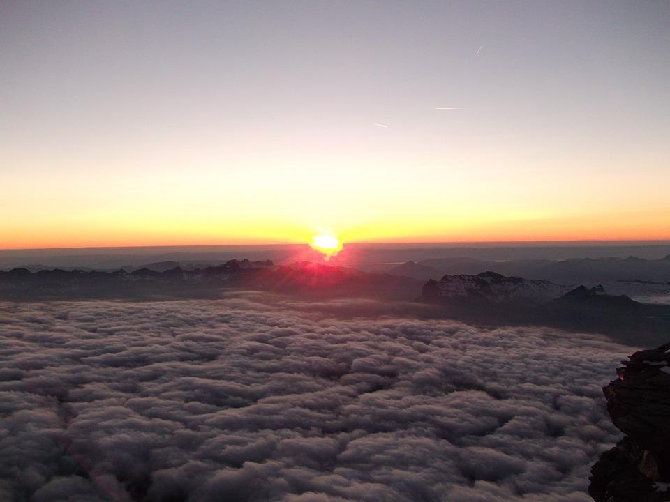 Sunset, Altitude, Clouds, Skyline, Mountain, Travel