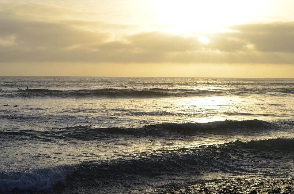 Usa, California, Pacific Beach, Sea, Sunset, Clouds
