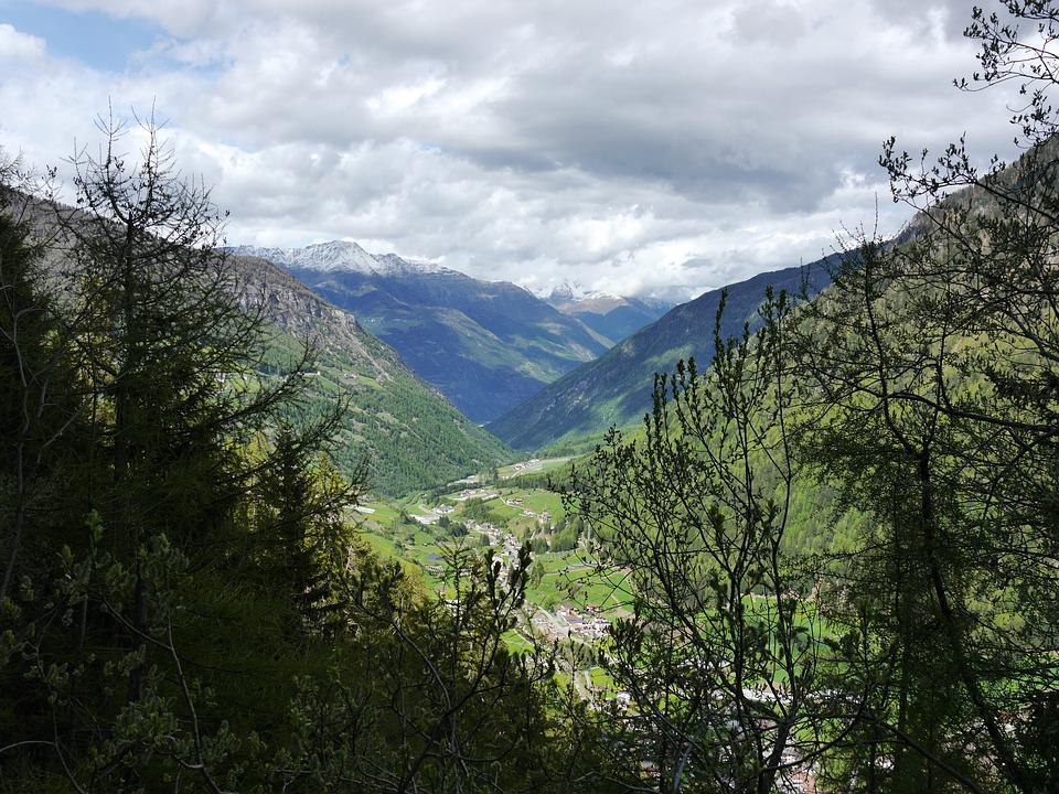 Mountain, Valley, Nature, Sky, Clouds, Blue, View