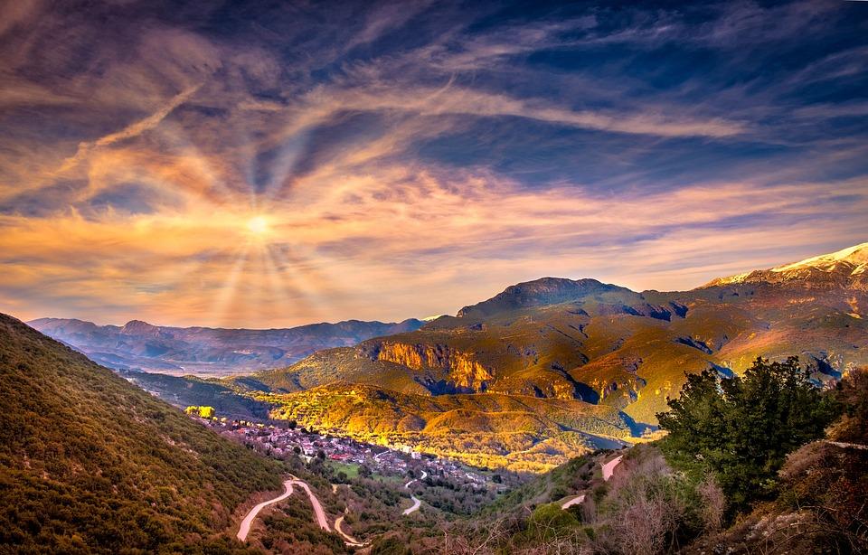 Village, Hills, Greece, Sky, Sun, Clouds, Nature