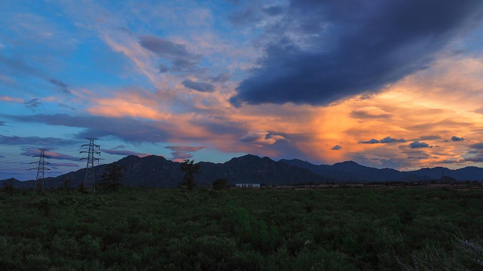 Sunset, Clouds, Mountains, Wild, Weather, Landscape