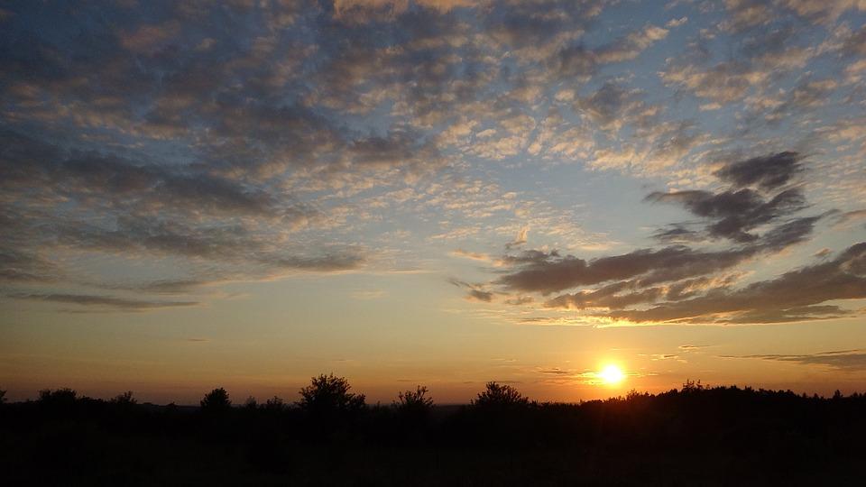 Sky, Clouds, West, Sunset, Light, Landscape, Evening