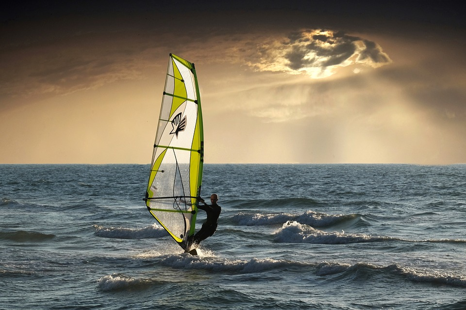 Windsurfing, Sea, Clouds, Sunset, Nature, Wave