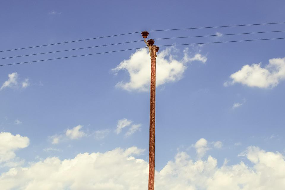 Pole, Sky, Clouds, Wires, Telephone, Line