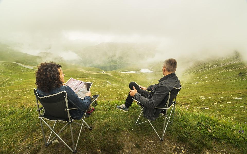 Couple, Clouds, Alps, Woman, Landscape, Happy, Outdoor