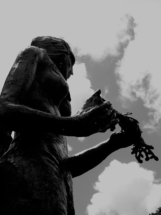 Statue, Woman, Sky, Clouds