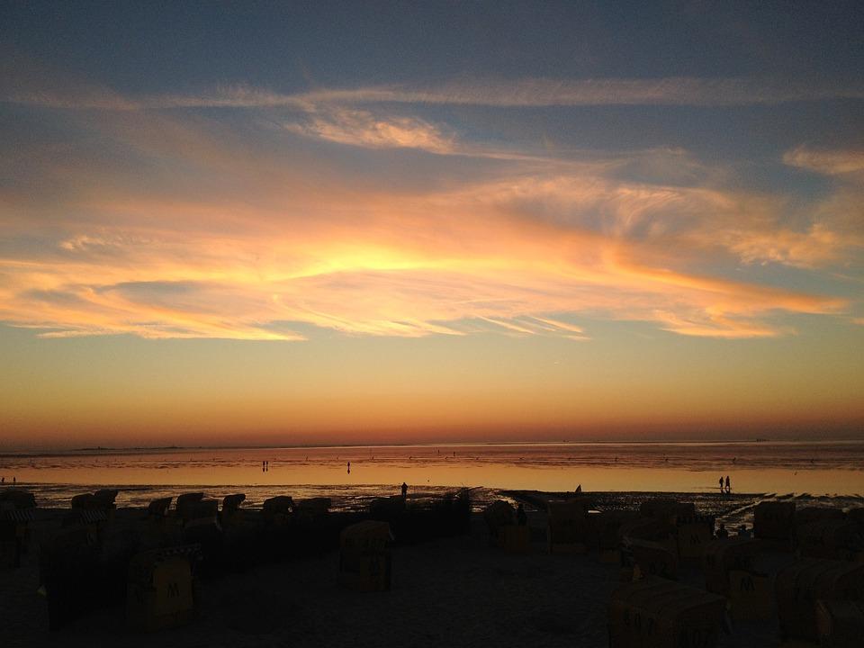 Sea, Sunset, Clouds, Landscape, Cloudscape, Wadden Sea