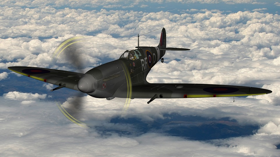Spitfire, Flying, Cloudy Flight, British War Plane
