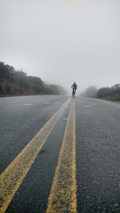 Fog, Road, Mountain, Bicycle, Cloudy