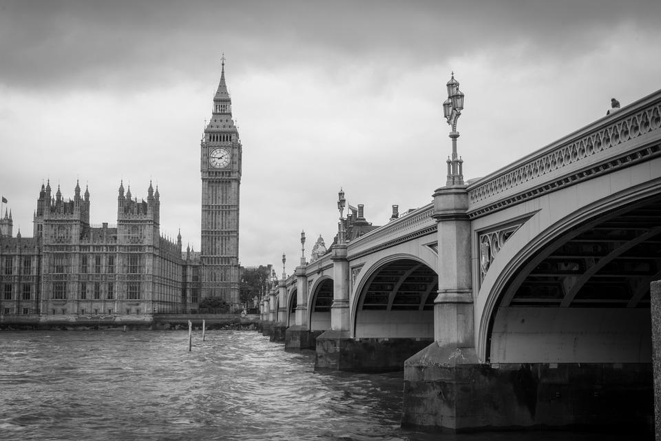 London, Big Ben, Black And White, Bridge, Cloudy