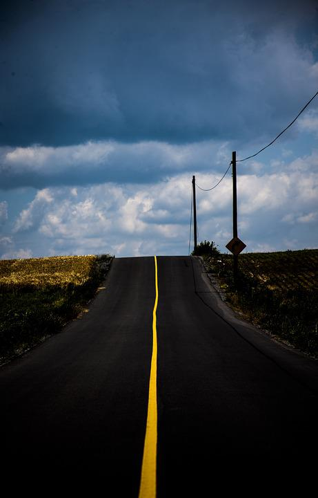 Road, Line, Yellow, Cloudy, Country, Street
