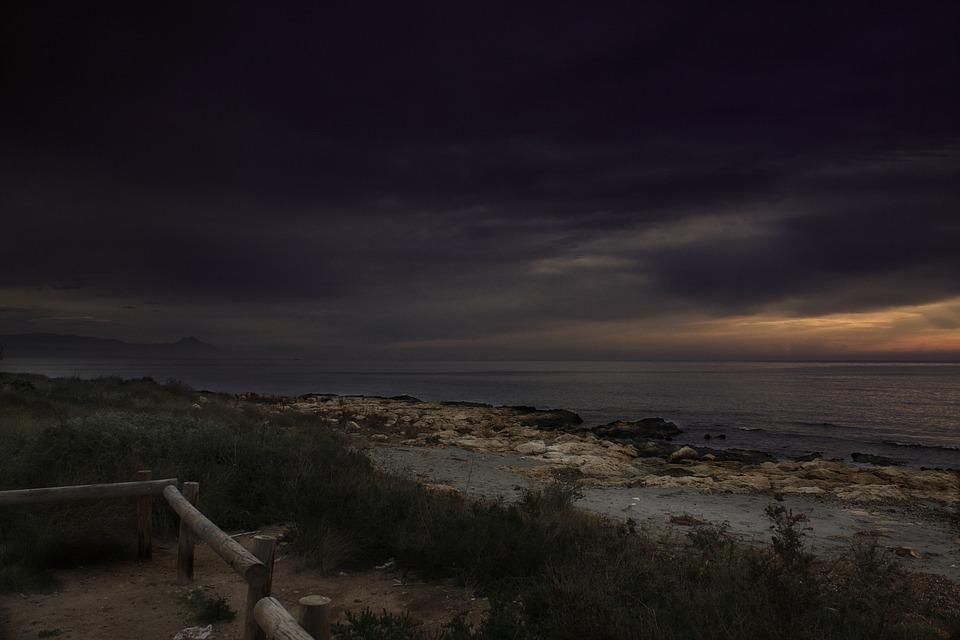 Beach, Sea, Cloudy, Dark, Twilight, Dusk, Dawn, Coast