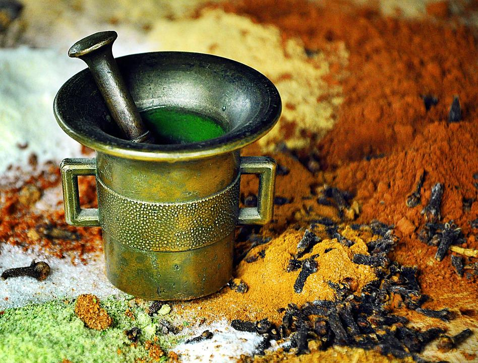 Spices, Kitchen, Mortar, Cooking, Seasoning, Cloves