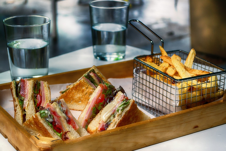 Club Sandwich, Lettuce, Tomato, Cheese, Snack, Fries