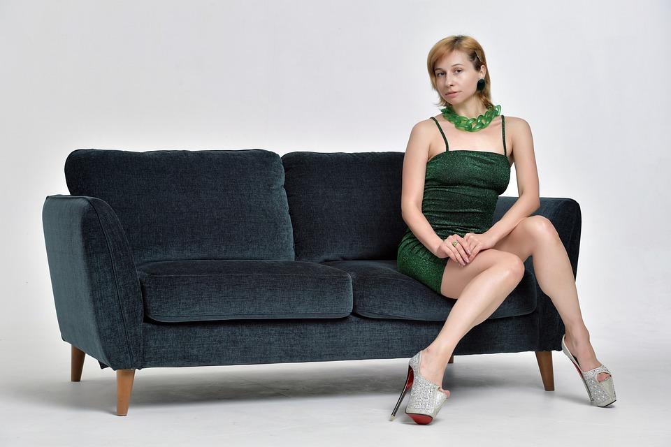 Woman, Sofa, Dress, Style, Fashion, Club Style
