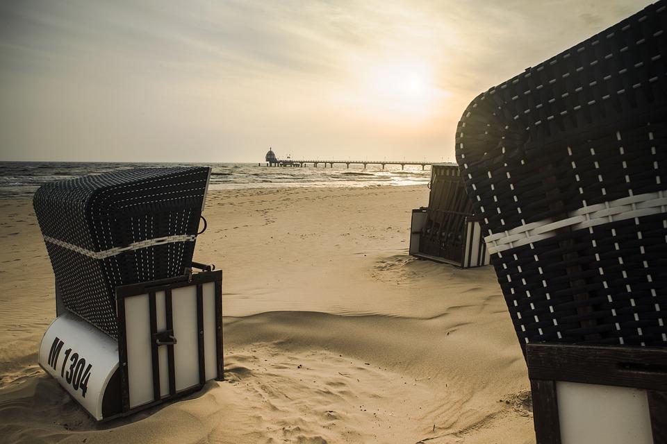 Zinnowitz, Beach, Clubs, Sand, Sea, Sky, Sun, Usedom