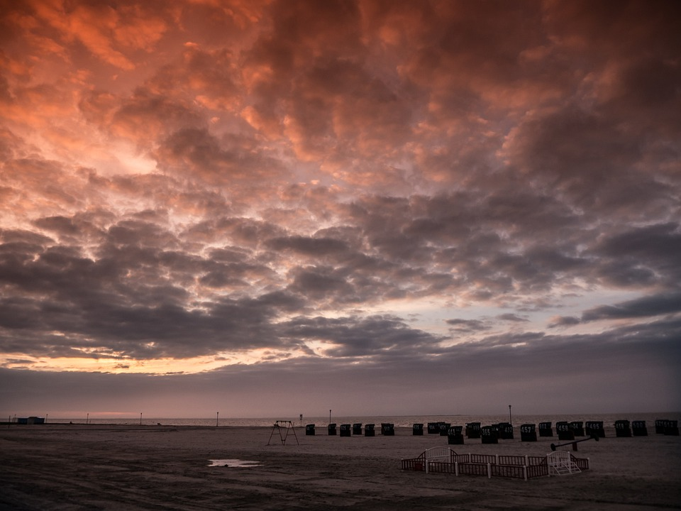 Wadden Sea, Clubs, Sky, Sea, North Sea, Sunset, Evening